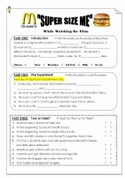 "Supersize Me Worksheet Answers New English Worksheets ""super Size Me"" Viewing Post Viewing"