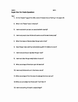 Supersize Me Worksheet Answers New Supersize Me Movie Discussion Questions by Rachel Franks