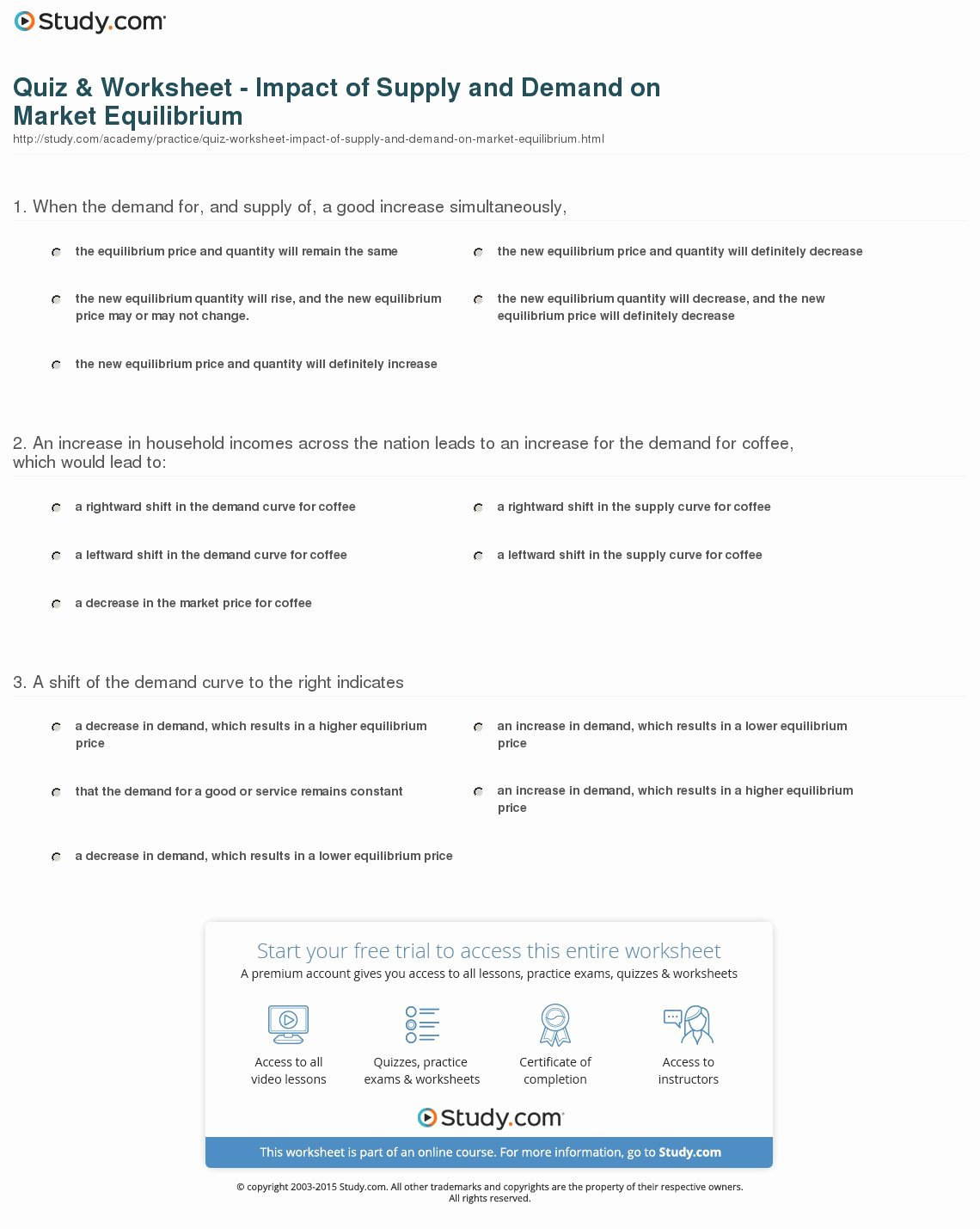 Supply and Demand Worksheet Awesome Quiz & Worksheet Impact Of Supply and Demand On Market