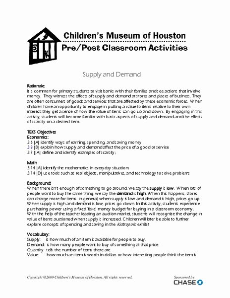 Supply and Demand Worksheet Lovely Supply and Demand Lesson Plans & Worksheets