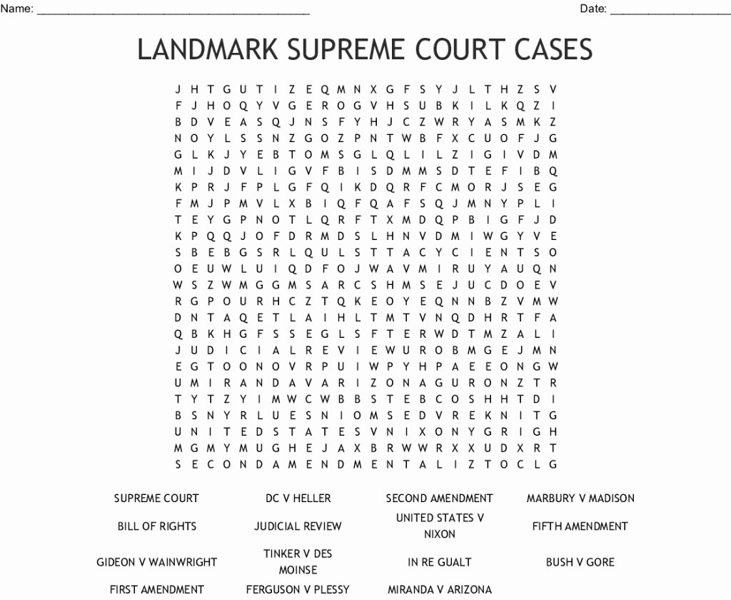 Supreme Court Cases Worksheet Answers Lovely Cool Landmark Supreme Court Cases Word Search Wordmint