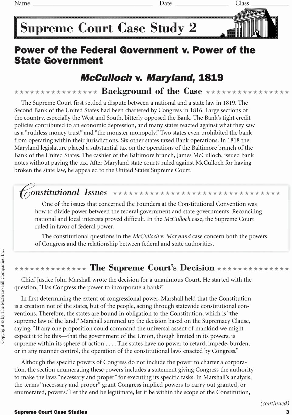 Supreme Court Cases Worksheet Answers Lovely Supreme Court Case Stu S Pdf