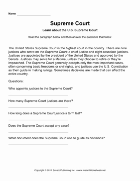 Supreme Court Cases Worksheet Answers New Government Supreme Court Prehension