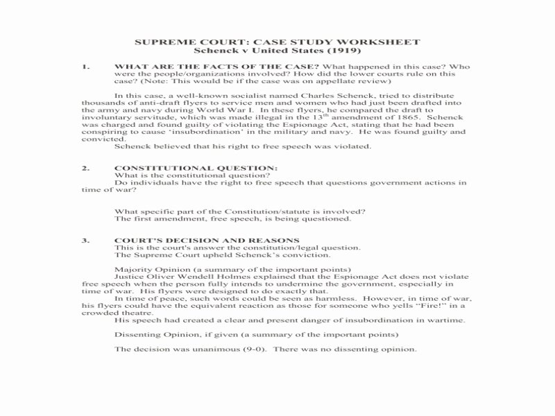 Supreme Court Cases Worksheet Answers New Marbury V Madison 1803 Worksheet Answers Free Printable