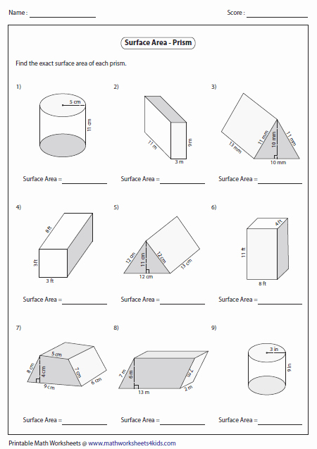 Surface area and Volume Worksheet Awesome Surface area Worksheet Surface area Of Prisms Level