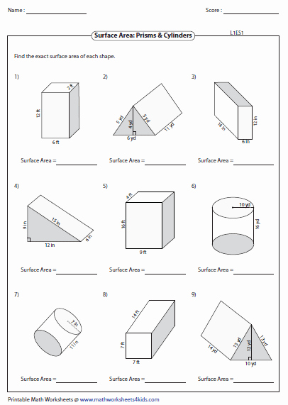 Surface area and Volume Worksheet Awesome Surface area Worksheets