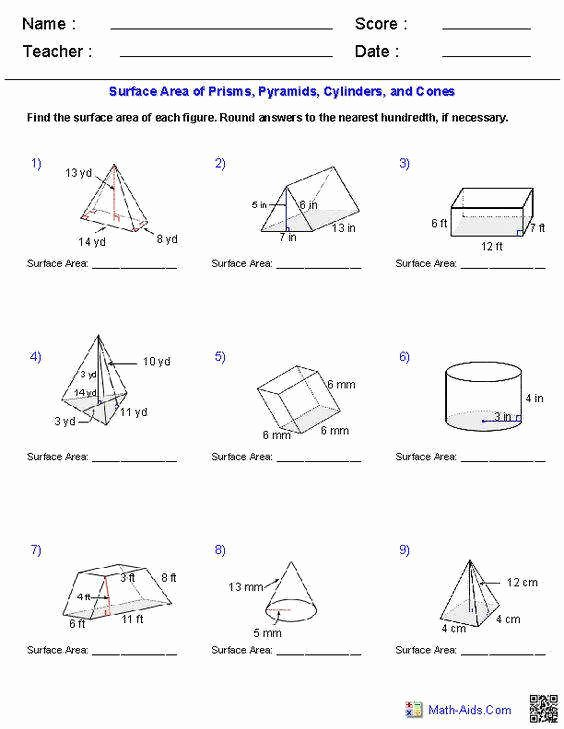 Surface area and Volume Worksheet Beautiful Surface area and Volume Worksheet