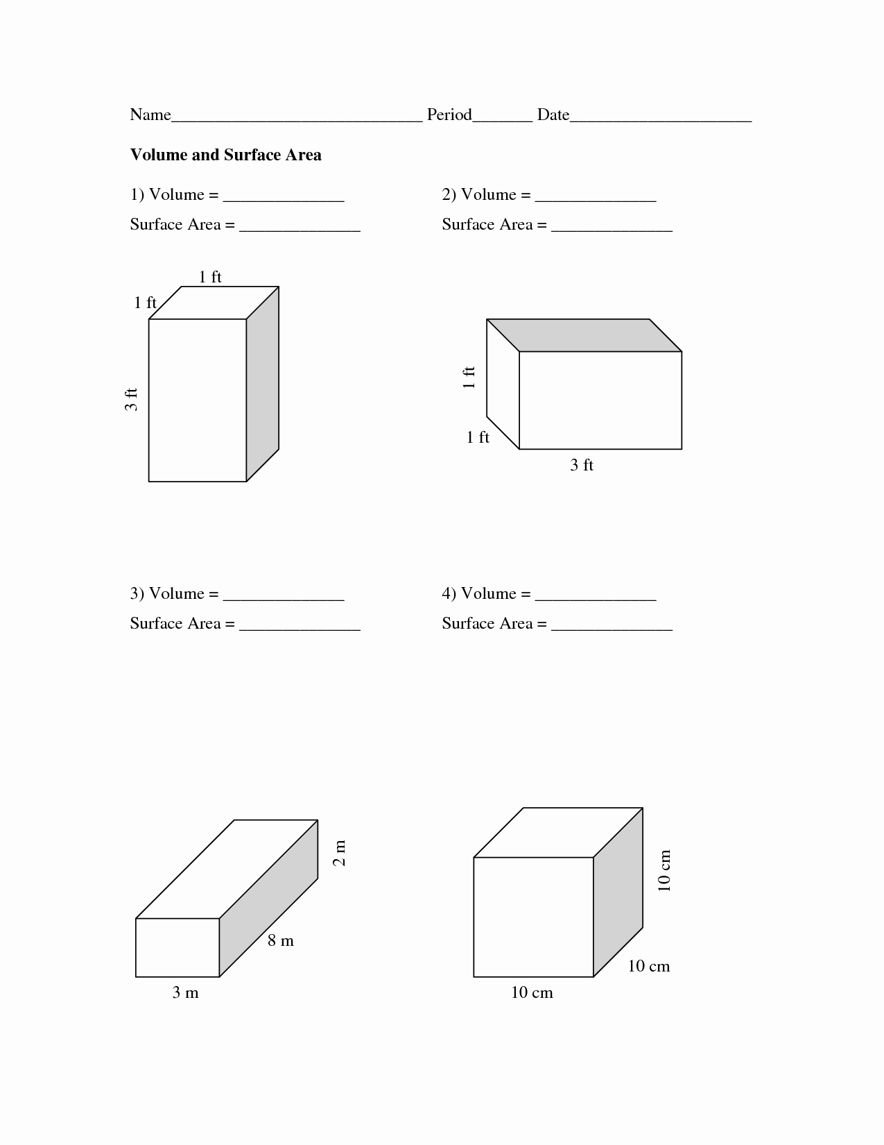 Surface area and Volume Worksheet Beautiful Volume and Surface area Worksheets