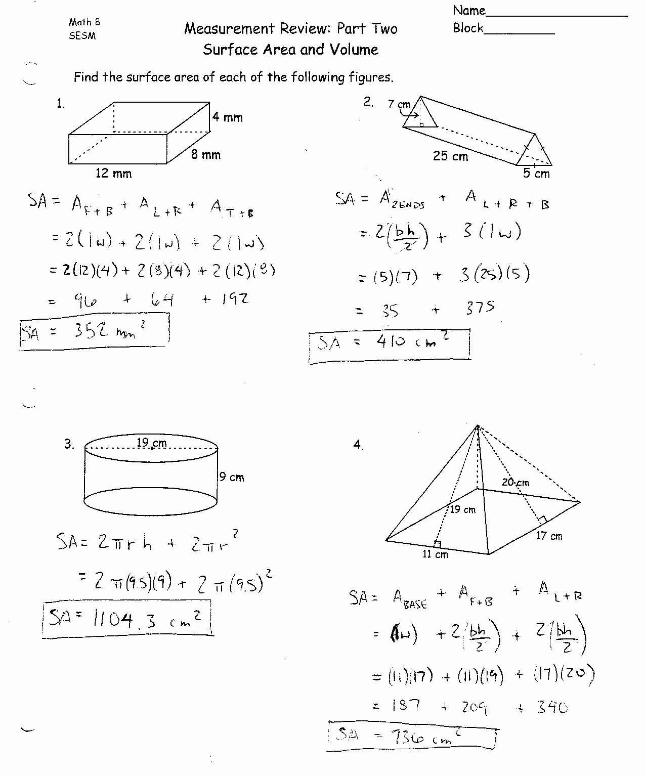 Surface area and Volume Worksheet Best Of Surface area and Volume Worksheets Grade 10