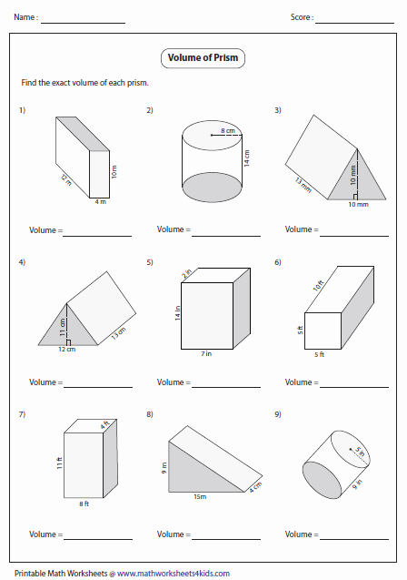 Surface area and Volume Worksheet Best Of Volume Of Prisms Level 1 G7 Pinterest