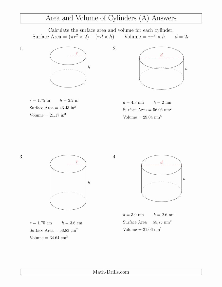 Surface area and Volume Worksheet Elegant Calculating Surface area and Volume Of Cylinders with