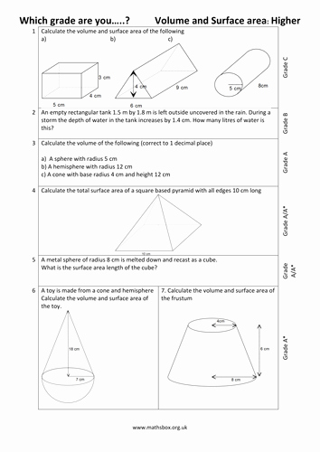 Surface area and Volume Worksheet Fresh Graded Gcse Higher Volume and Surface area by Mathsbox1