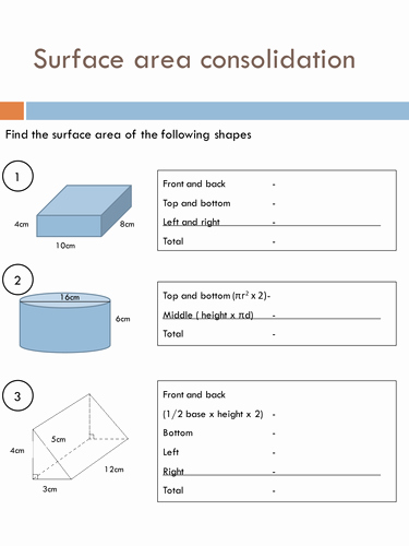 Surface area and Volume Worksheet Inspirational Surface area Worksheets by Holyheadschool