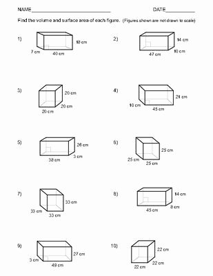 Surface area and Volume Worksheet Inspirational Volume and Surface area Of Rectangular Prisms Worksheets