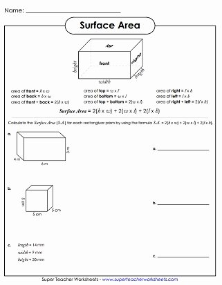 Surface area and Volume Worksheet Lovely Surface area Worksheets