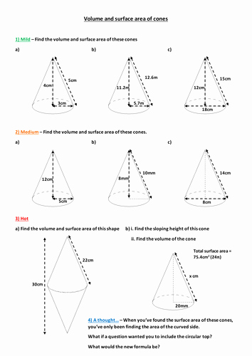 Surface area and Volume Worksheet Lovely Volume and Surface area Of Cones by Mizz Happy Teaching
