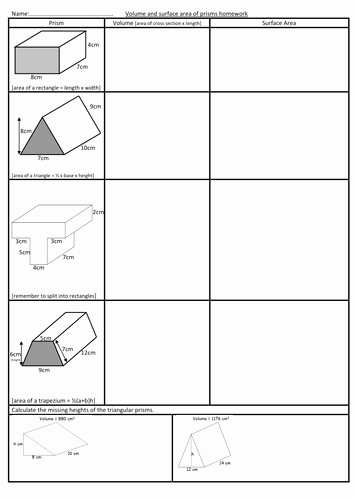 Surface area and Volume Worksheet Luxury Volume and Surface area Of Prisms Worksheet by Swaller25