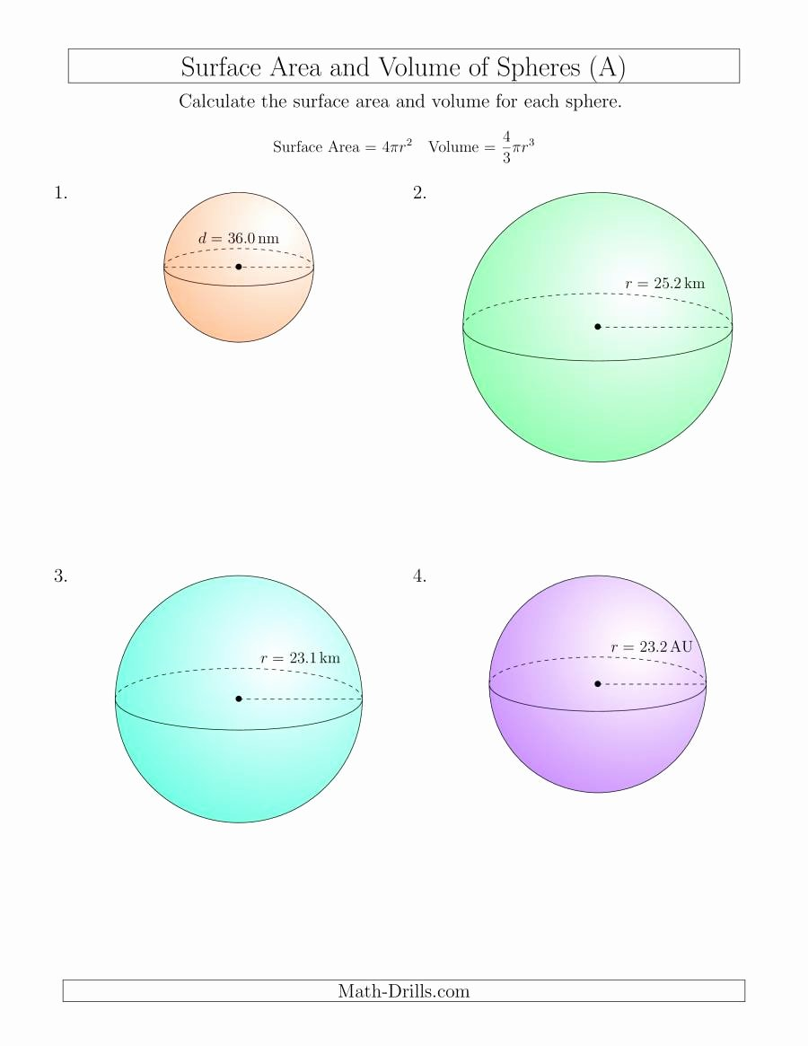 Surface area and Volume Worksheet Luxury Volume and Surface area Of Spheres E Decimal Place A