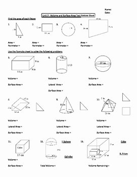 Surface area and Volume Worksheet New Geometry Unit 7 area and Volume Unit Review Worksheet