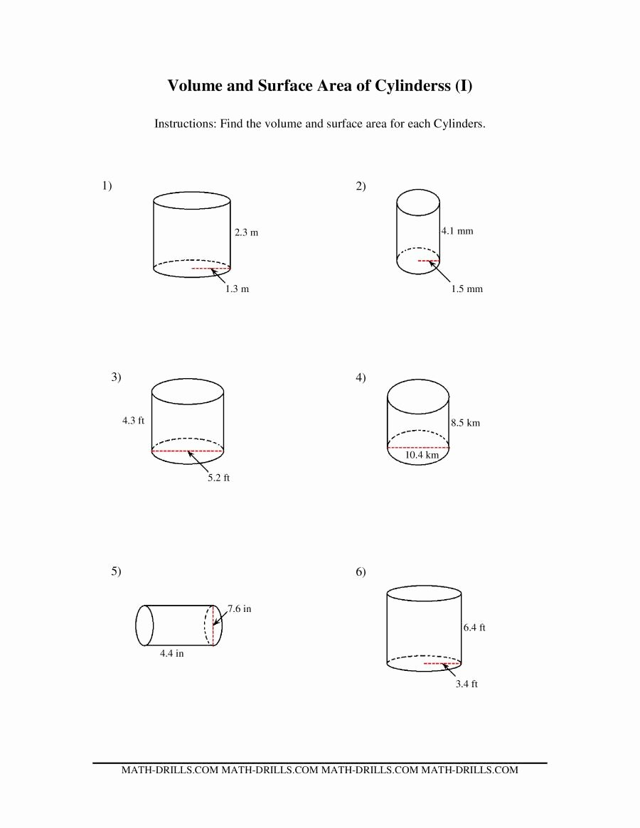 Surface area and Volume Worksheet New Volume and Surface area Of Cylinders I