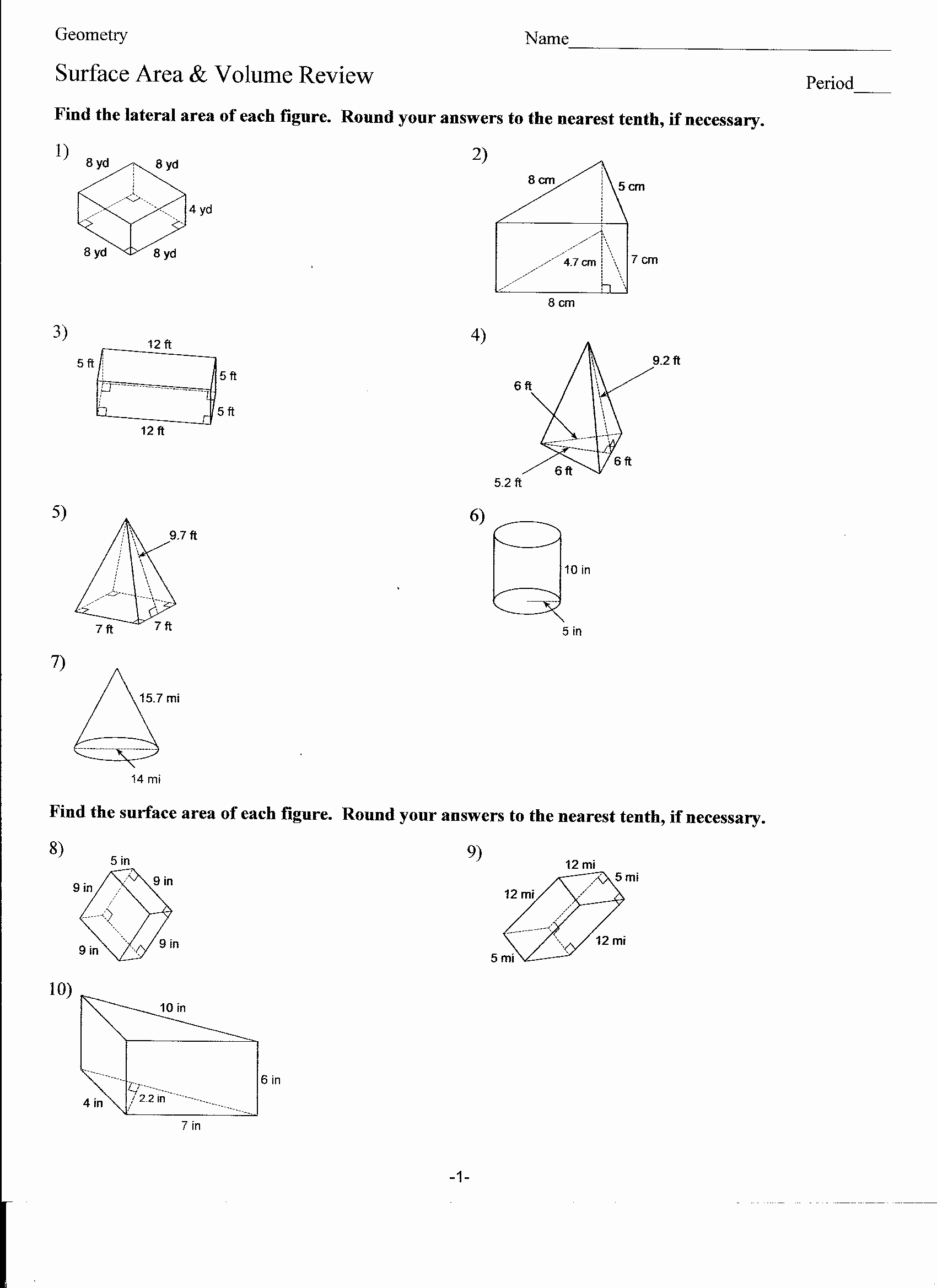 Surface area and Volume Worksheet Unique 13 Best Of Surface area Cylinder Worksheet 8th
