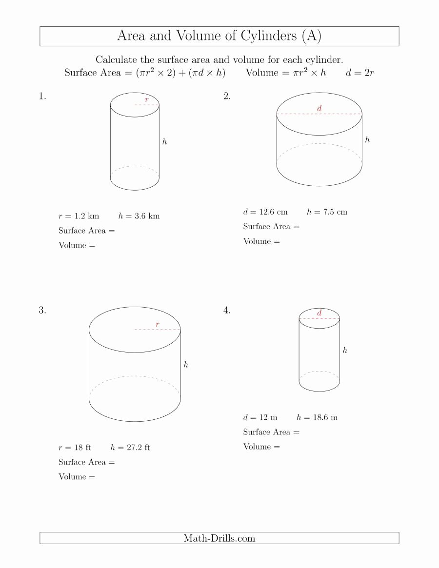 Surface area and Volume Worksheet Unique Calculating Surface area and Volume Of Cylinders A