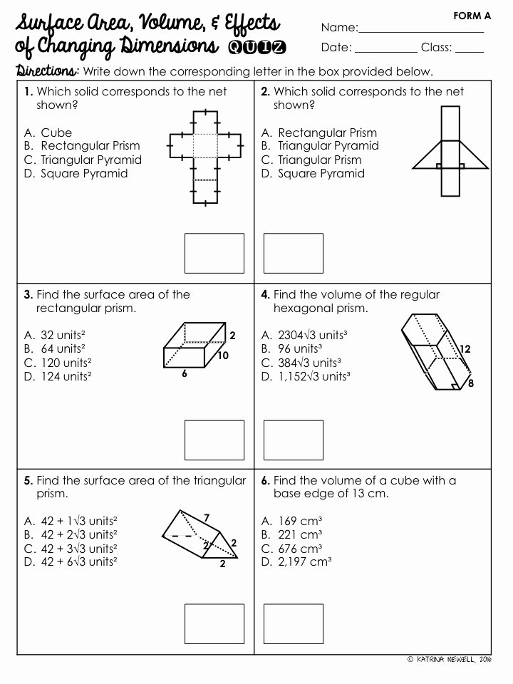 Surface area and Volume Worksheet Unique Surface area & Volume Of Prisms Unit