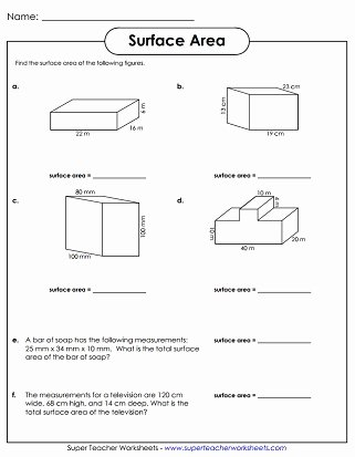 Surface area and Volume Worksheet Unique Surface area Worksheets
