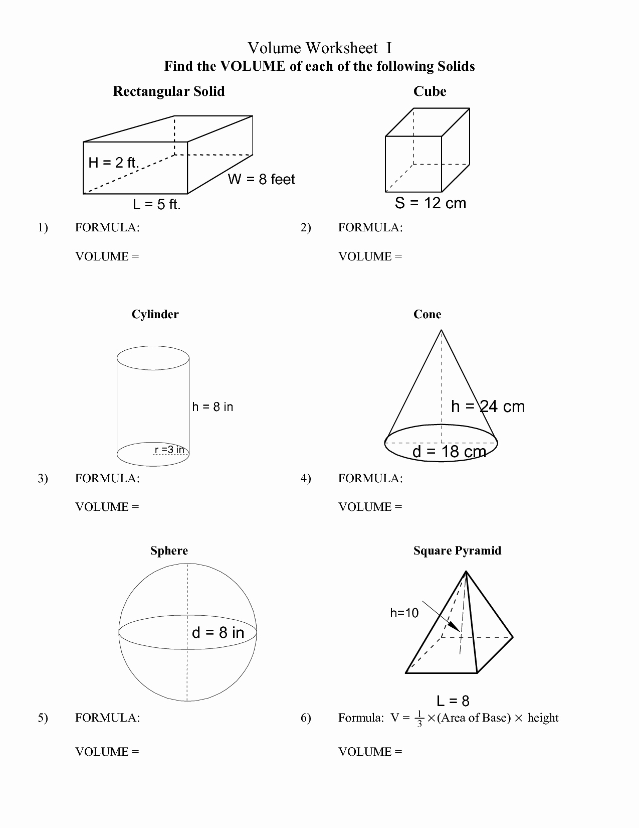 Surface area Of Pyramid Worksheet Beautiful 16 Best Of Cone Cylinder and Sphere Worksheet
