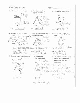 Surface area Of Pyramid Worksheet Beautiful Geometry Unit 7 Cone Pyramid Triangular Prism Surface area