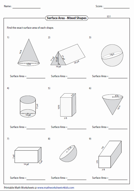 Surface area Of Pyramid Worksheet Beautiful Surface area Worksheets