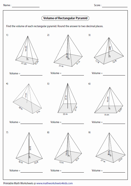 Surface area Of Pyramid Worksheet Best Of Volume Worksheets