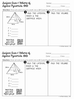 Surface area Of Pyramid Worksheet Elegant Free Surface area Of Square Pyramids Practice Worksheet