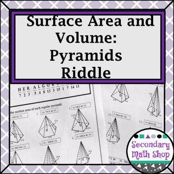 Surface area Of Pyramid Worksheet Elegant Surface area and Volume Pyramids Riddle Worksheet by