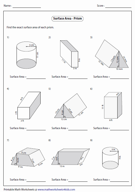 Surface area Of Pyramid Worksheet Inspirational Surface area Worksheets