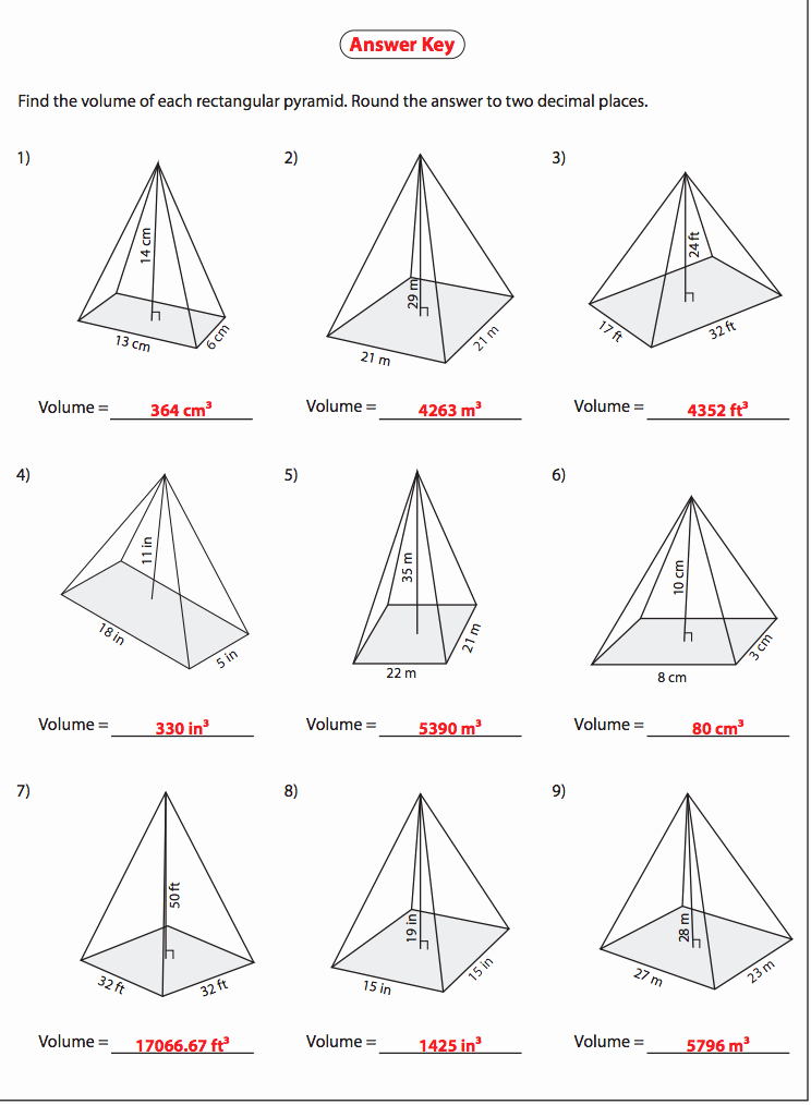 Surface area Of Pyramid Worksheet Inspirational Volume Of Rectangular Pyramid Answers Nms Self Paced