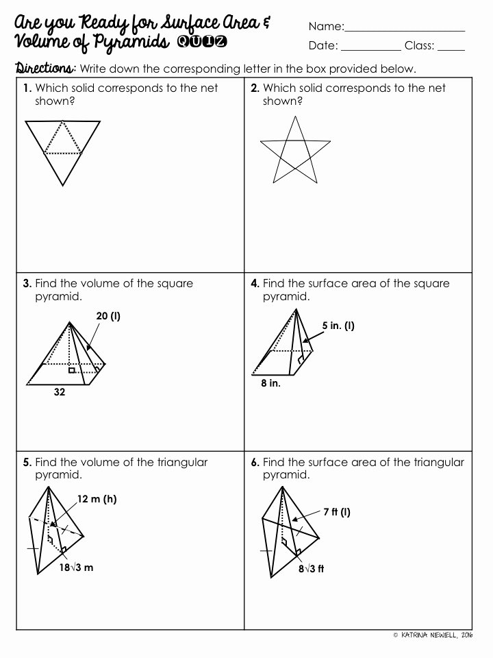 Surface area Of Pyramid Worksheet Lovely Surface area and Volume Of Pyramids Unit