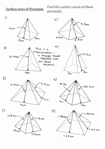 Surface area Of Pyramid Worksheet Lovely Surface area Of Pyramids and Frustums No Pythagoras by