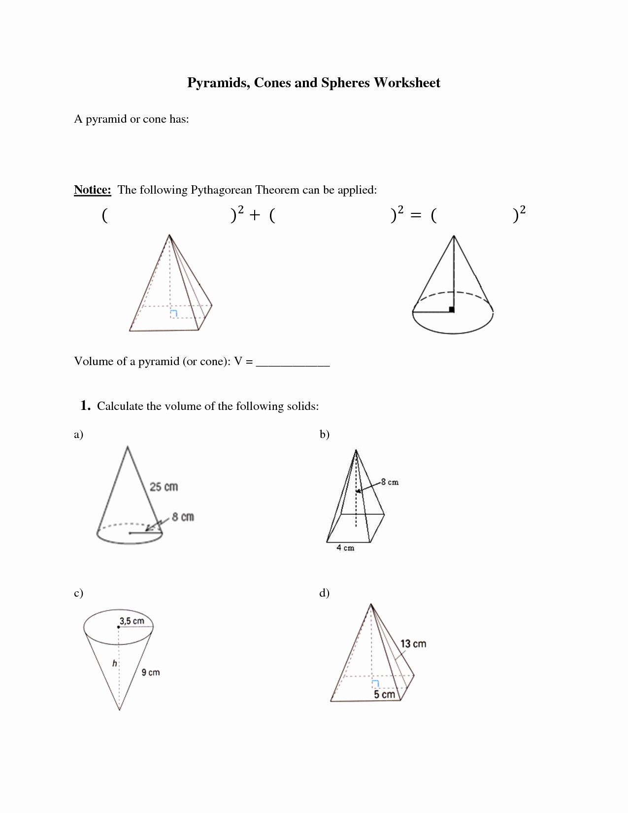 Surface area Of Pyramid Worksheet Luxury 16 Best Of Cone Cylinder and Sphere Worksheet
