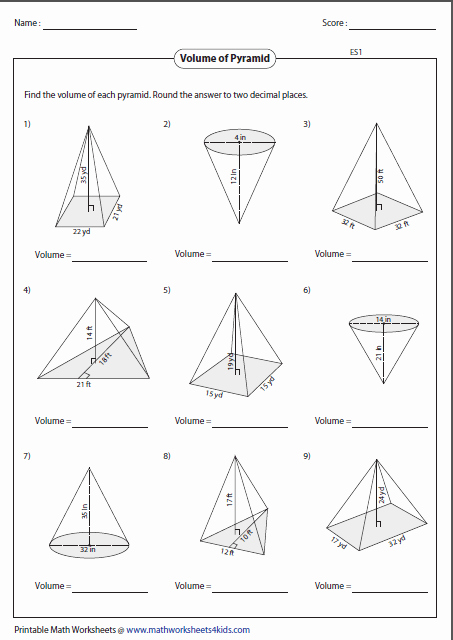 Surface area Of Pyramid Worksheet Luxury Volume Worksheets
