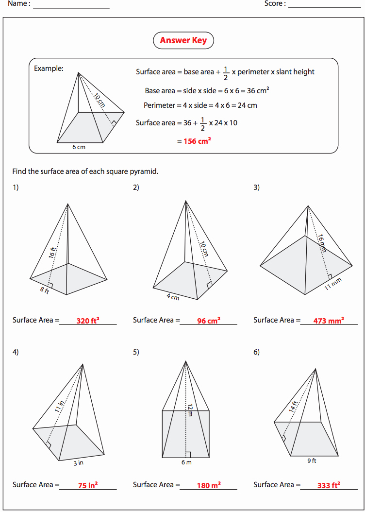 Surface area Of Pyramid Worksheet New Math Pyramid Worksheet Worksheet Mogenk Paper Works