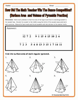 Surface area Of Pyramid Worksheet New Surface area and Volume Pyramids Riddle Worksheet by