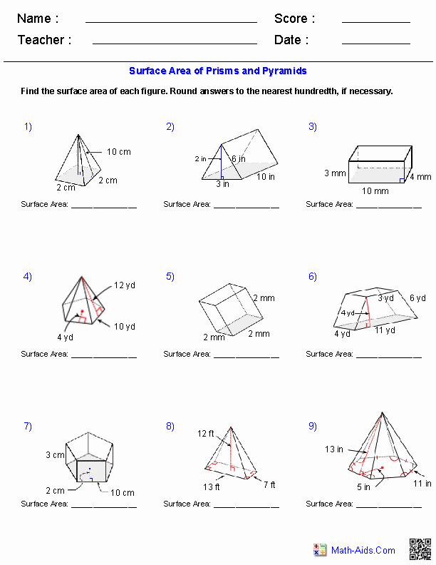 Surface area Of Pyramid Worksheet Unique Geometry Worksheets