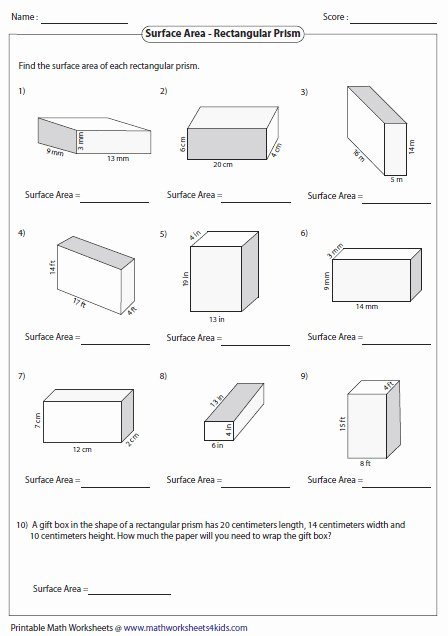 Surface area Of Pyramid Worksheet Unique Volume Prisms Worksheet
