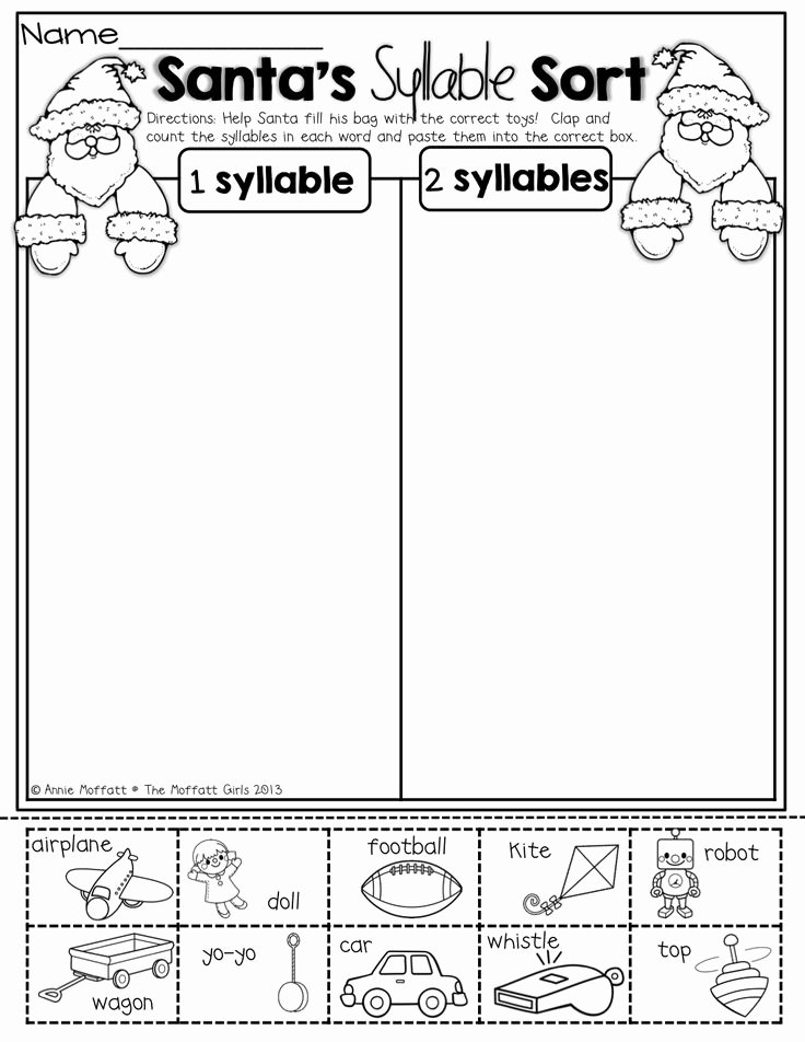 Syllable Worksheet for Kindergarten Awesome Santa S Syllable sort