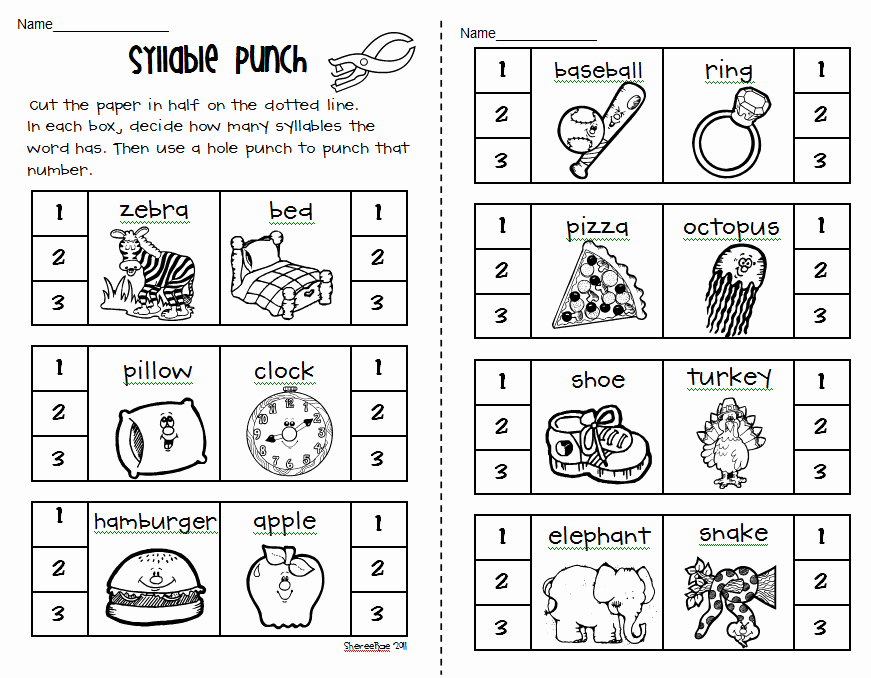 Syllable Worksheet for Kindergarten Awesome Syllable Counting Worksheet