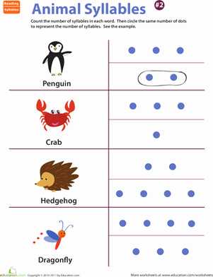 Syllable Worksheet for Kindergarten Beautiful Animal Syllables Worksheet