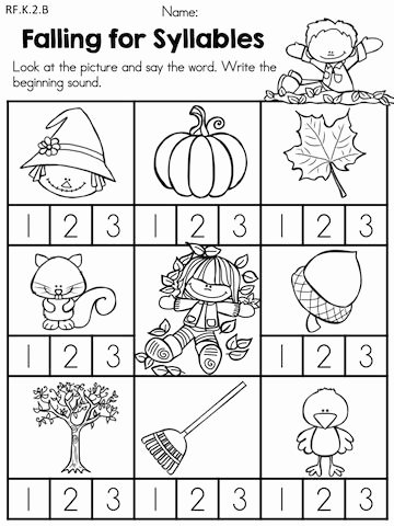 Syllable Worksheet for Kindergarten Beautiful Fall Literacy Activities and Worksheets No Prep