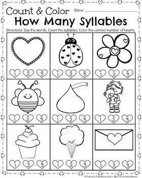 Syllable Worksheet for Kindergarten Beautiful Kindergarten Math and Literacy Printables February by
