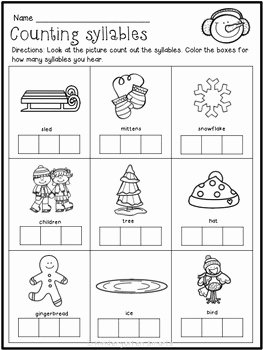 Syllable Worksheet for Kindergarten Best Of Winter Math and Literacy Worksheets by Kindergarten Smarts